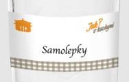 Samolepky pro kořenky: S oranžovým hrncem na bílém pozadí bez názvů kořenek a zavařenin
