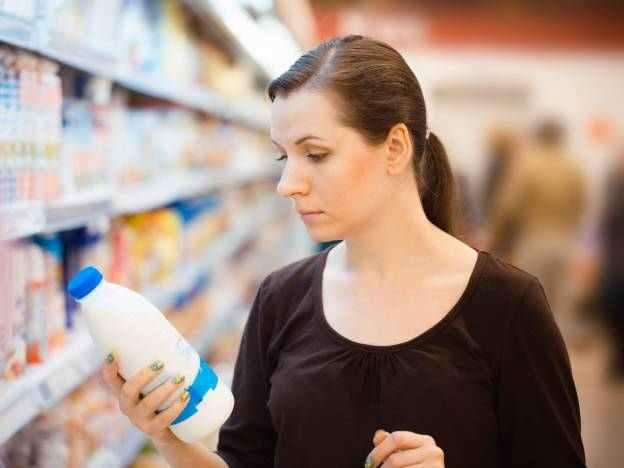 Žena, nákup, mléko, obchod