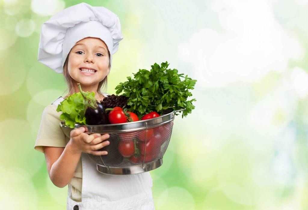 dítě, holka, kuchařka, zelenina, bylinky