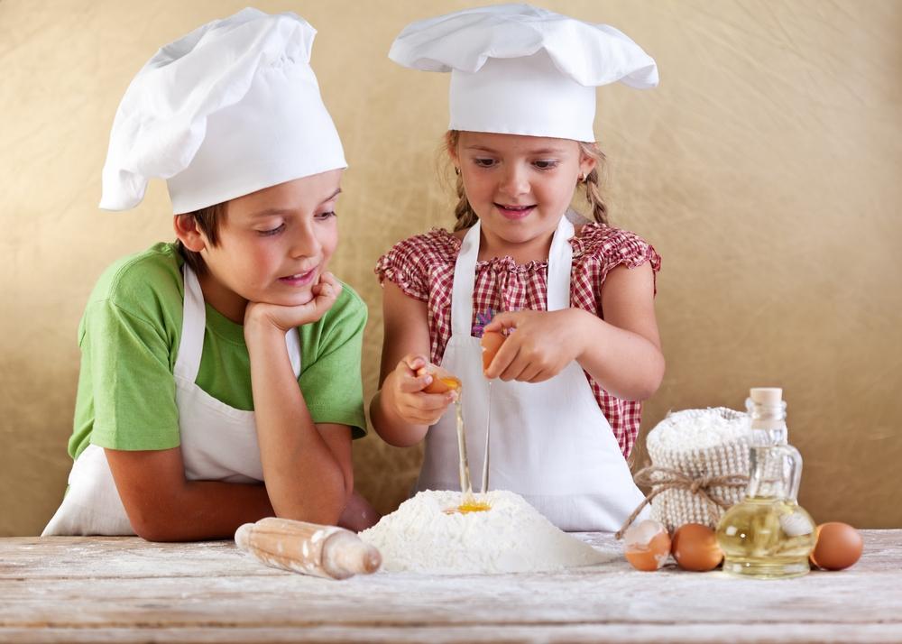 Děti, pečení, příprava, kuchař