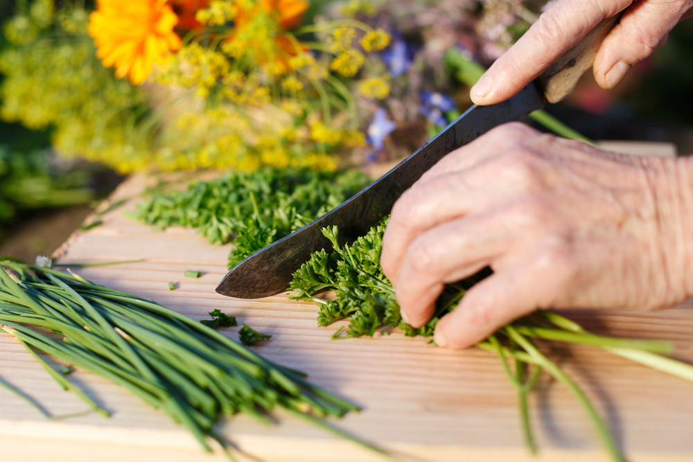 Ruce, babička, sekání, krájení, bylinky, petržel