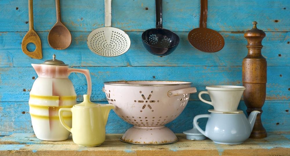 dekor, nádobí, kuchyň, retro, vintage