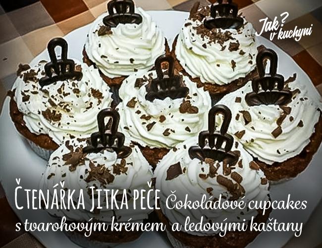 Čtenářka Jitka peče: Čokoládové cupcakes s tvarohovým krémem a ledovými kaštany