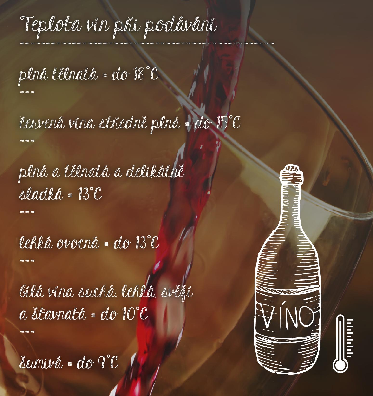 Teplota vín při podávání