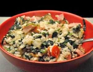 Rýžová kaše se špenátem a telecím masem