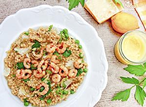 Citrónové rizoto s hráškem a krevetami