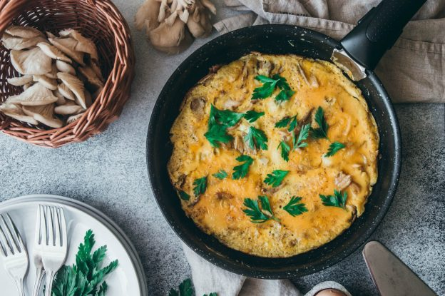 Vaječná omeleta s hlívou ústřičnou